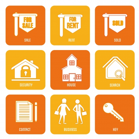 real estate icons over white background vector illustration  Vector