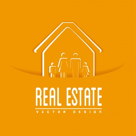 real estate design over orange background vector illustration  Vector
