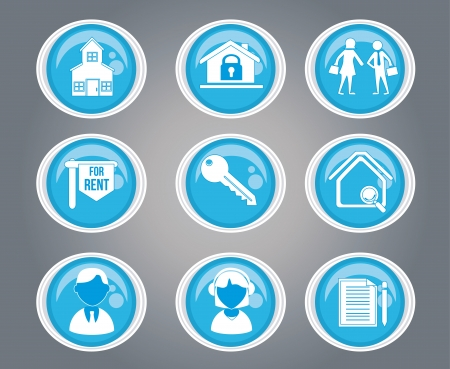 people and house icons over gray background vector illustration  Vector