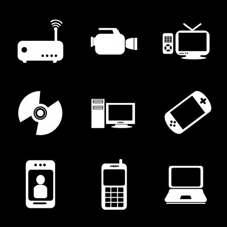 technological icons over black background vector illustration Stock Vector - 20499970