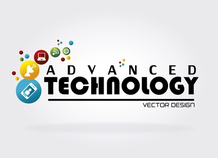advanced technology: advanced technology over white background vector illustration