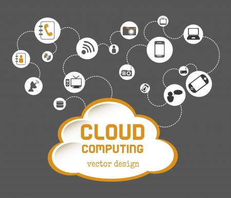 cloud computing over gray background vector illustration