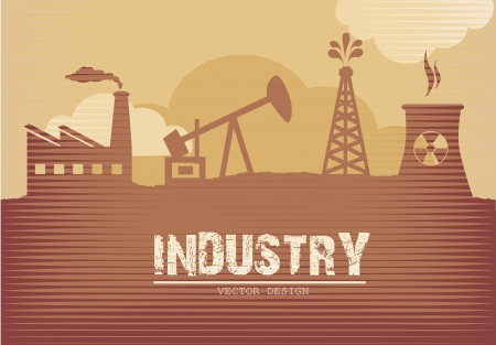 industry poster over grunge background vector illustration Stock Vector - 20500369
