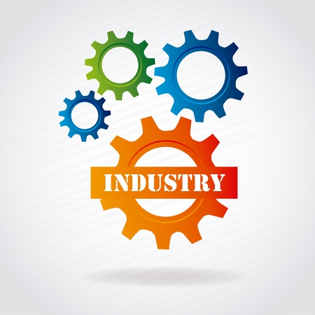 industry gears over gray background vector illustration