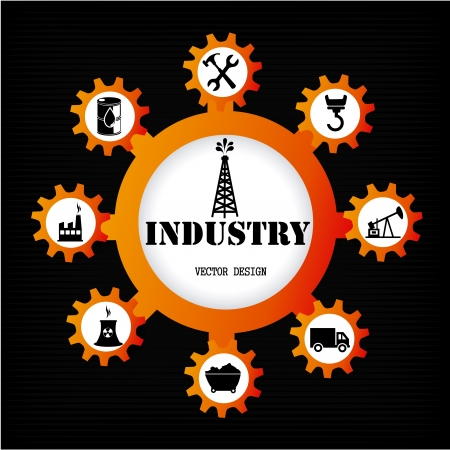 industry icons over black background vector illustration  Vector