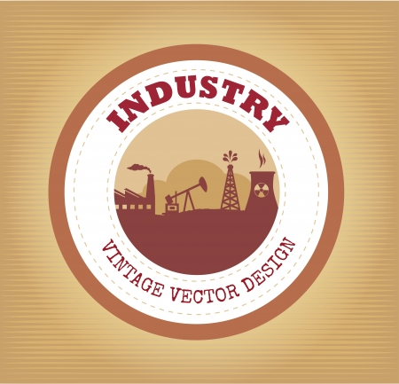 industry seal over vintage background vector illustration  Stock Vector - 20500227