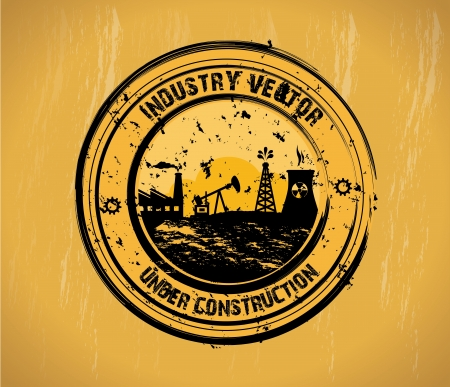 industry seal over vintage background  vector illustration Stock Vector - 20500810