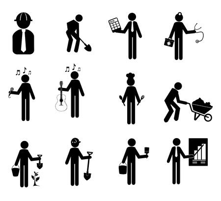 dělník: Ikony pracovník na bílém pozadí vektorové ilustrace