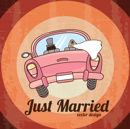グランジ背景上だけ結婚している車。ベクトル図