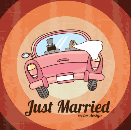 just married car  over grunge background. vector illustration
