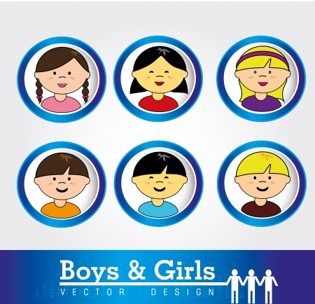boys and girls over white background vector illustration  Vector