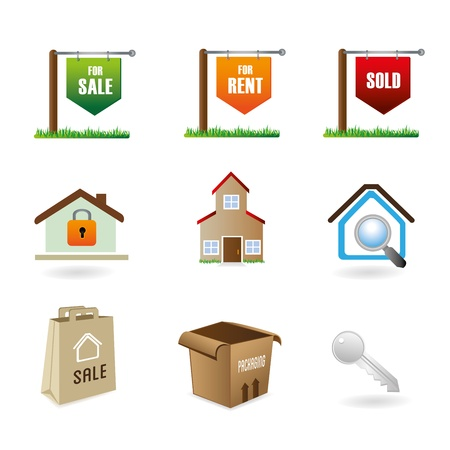 real estate icons over white background vector illustration Stock Vector - 20500326