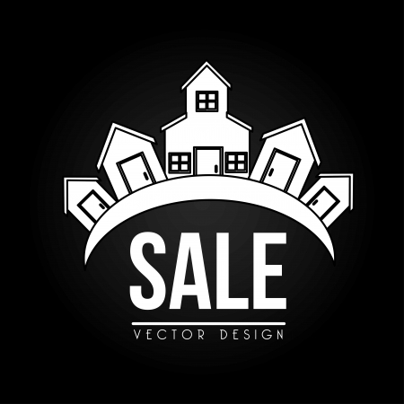 houses for sale design over black background vector illustration Vector