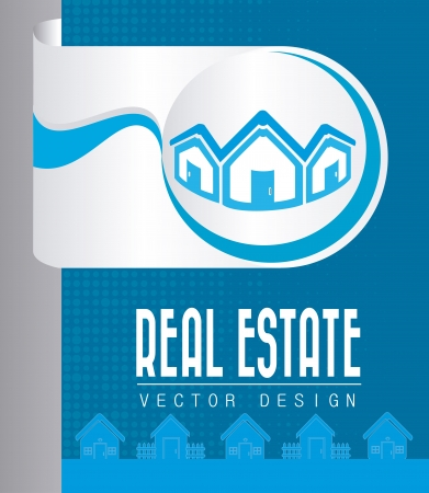 real estate design over blue background vector illustration  Vector