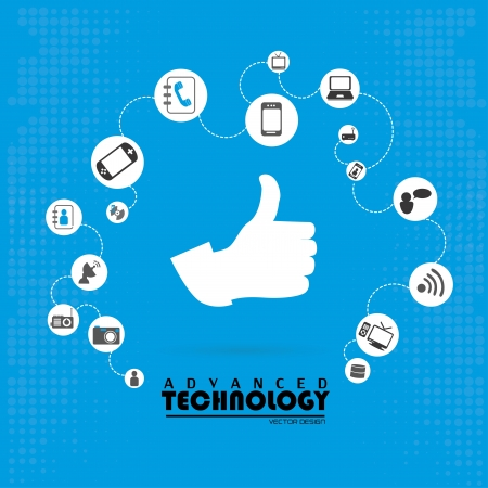 advanced technology: advanced technology over blue background vector illustration