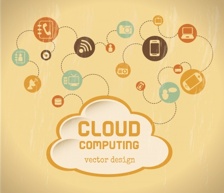 cloud computing over cream background vector illustration Stock Vector - 20500763