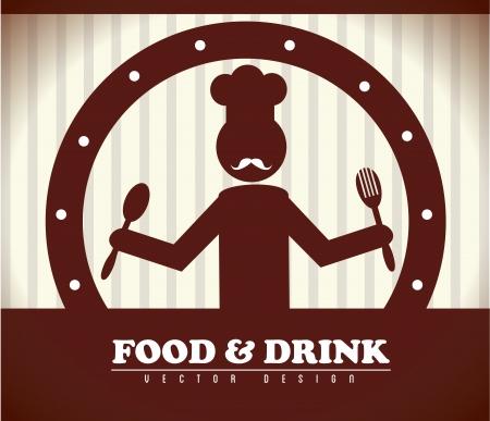 Comida y bebida sobre fondo marrón ilustración vectorial Foto de archivo - 20500449