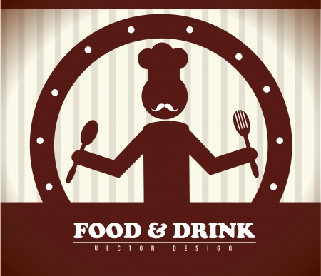 food and drink over brown background vector illustration