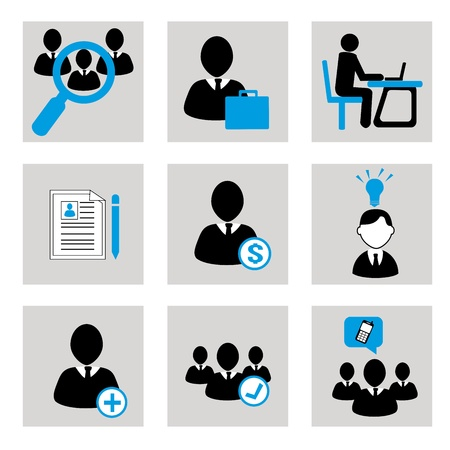 experte: Business-Symbole auf grauem Hintergrund Vektor-Illustration