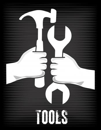 crescent wrench: tools design over black background vector illustration
