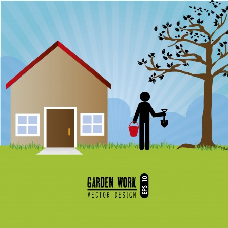 garden work over landscape background vector illustration  Vector