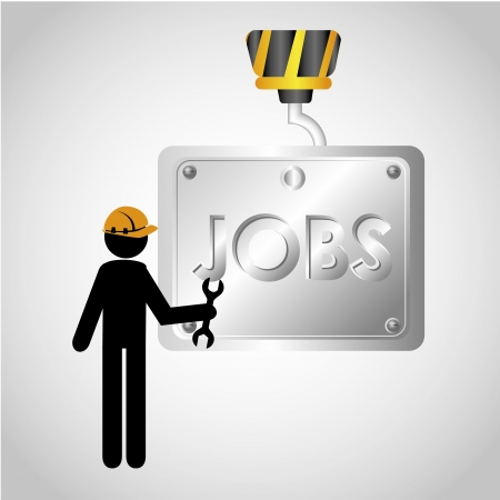 press nuts: jobs design over gray background vector illustration  Illustration