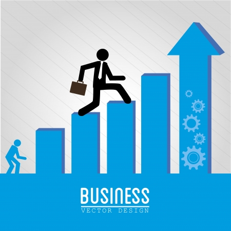 crecimiento personal: diseño de negocios sobre fondo gris ilustración vectorial