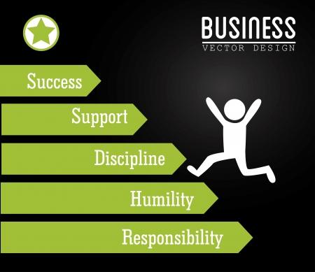 humility: diseño de negocios sobre fondo negro ilustración vectorial