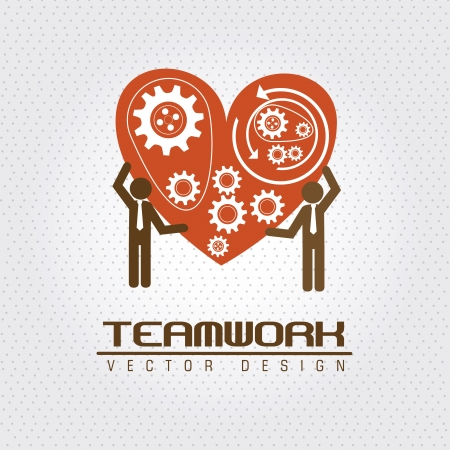 stronger: teamwork design  over dotted background vector illustration