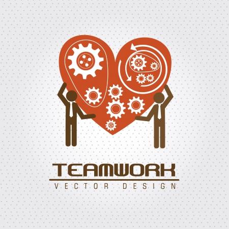 stronger: teamwork design  over dotted background vector illustration
