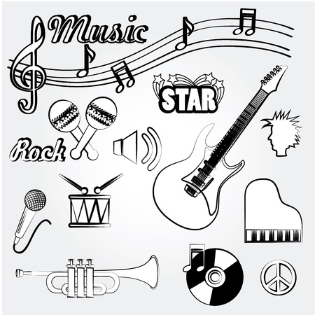 music icons over white background vector illustration Vector