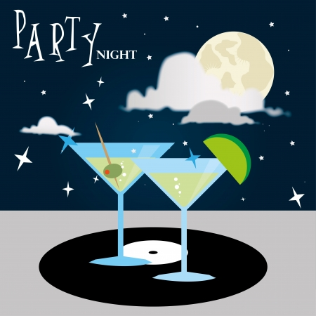 compact disc: party night over star sky background vector illustration