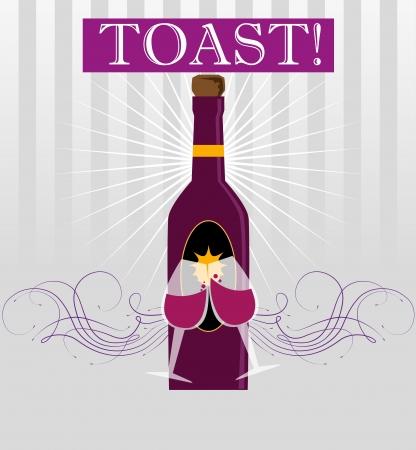 flutes: toast design over purple background vector illustration