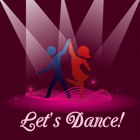 pareja bailando: bailemos sobre fondo violeta ilustraci�n vectorial Vectores