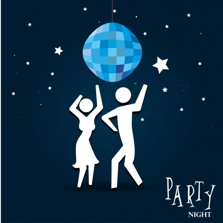 prom night: party night over sky night background vector illustration  Illustration