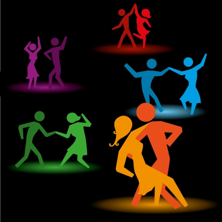 dancing people over black background vector illustration  Ilustracja