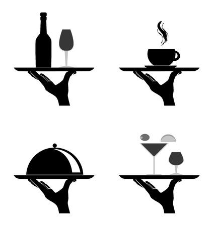 serveur avec plateau: silhouettes de restaurants sur fond blanc illustration vectorielle