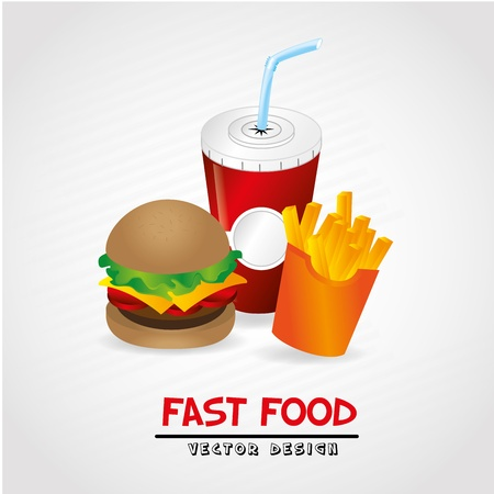 fast food label over gray background vector illustration Vector