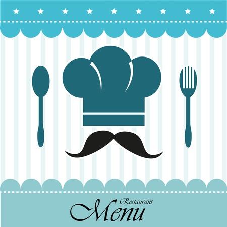 Restaurante de diseño sobre fondo azul ilustración vectorial Foto de archivo - 20500170