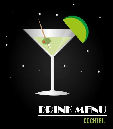 drink menu: drink menu over black background vector illustration  Illustration