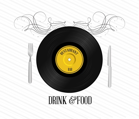 compact disc: drink and food design over white background vector illustration