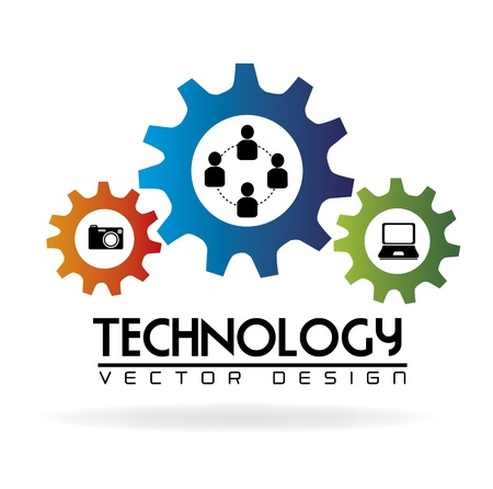 communications: technologie tandwielen over witte achtergrond vector illustratie Stock Illustratie
