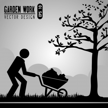 garden work over gray landscape vector illustration  Vector