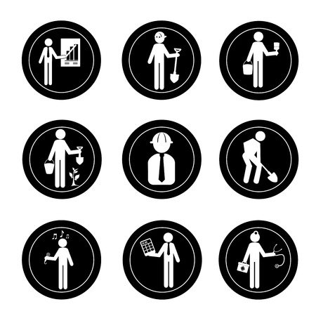 statesman: occupations seals over white background vector illustration