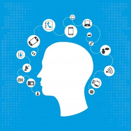 design della comunicazione su sfondo blu, illustrazione vettoriale