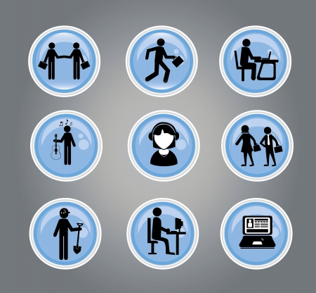 laborer: business buttons over gray background vector illustration  Illustration