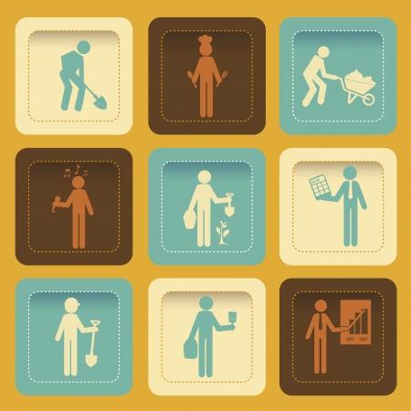statesman: worker icons over orange background vector illustration