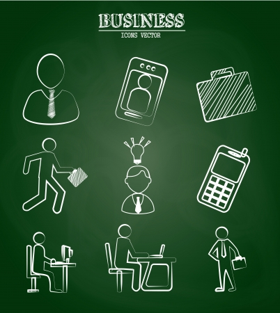 business icons over greenboard background vector illustration  Vector
