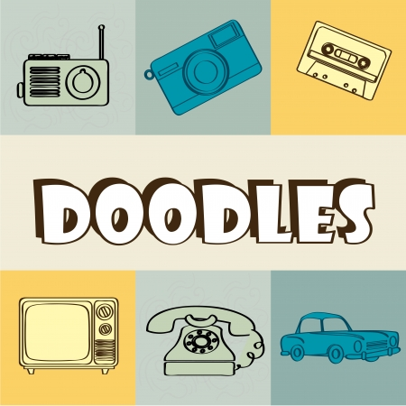 doodles icons over vintage background vector illustration  Vector
