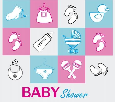 ducha iconos de bebé sobre fondo blanco ilustración vectorial